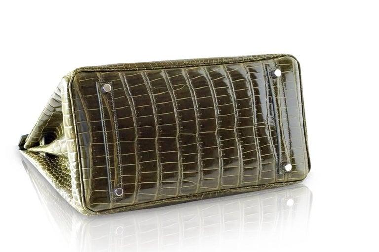 Hermes Birkin 35 Bag Vert Veronese Porosus Crocodile Palladium Army Green For Sale 3