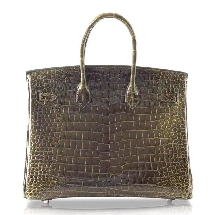 Hermes Birkin 35 Bag Vert Veronese Porosus Crocodile Palladium Army Green For Sale 2
