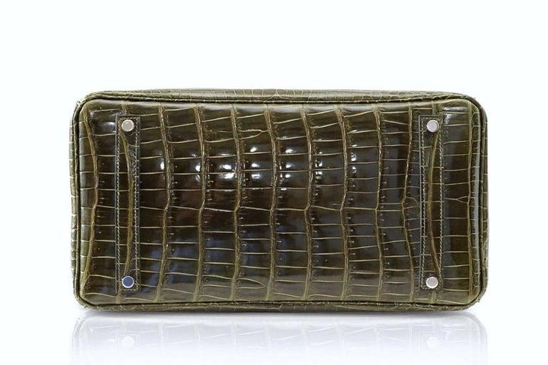 Hermes Birkin 35 Bag Vert Veronese Porosus Crocodile Palladium Army Green For Sale 4