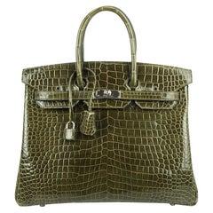 Hermes Birkin 35 Bag Vert Veronese Porosus Crocodile Palladium Hardware