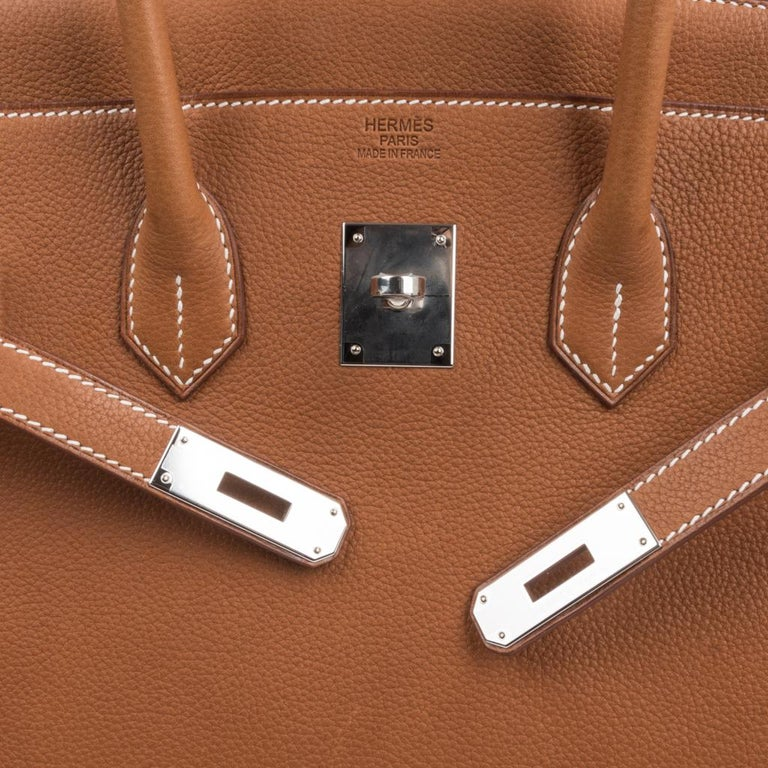 Brown Hermes Birkin 35 Bag Very Rare Barenia Faubourg Palladium Ultimate Neutral  For Sale