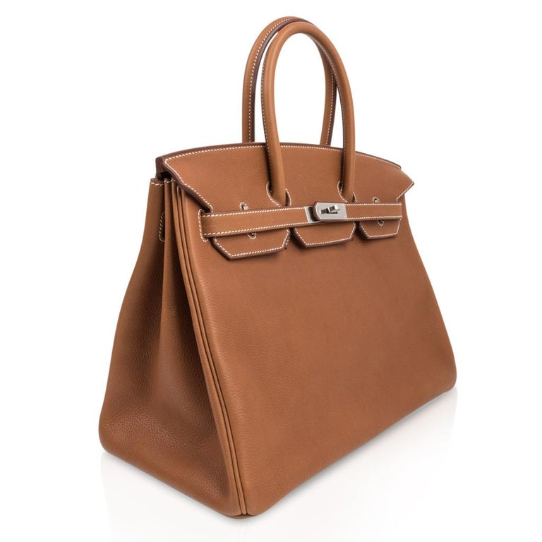 Women's Hermes Birkin 35 Bag Very Rare Barenia Faubourg Palladium Ultimate Neutral  For Sale