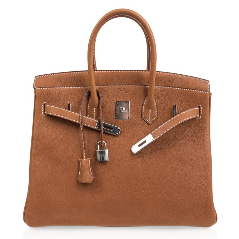 Hermes Birkin 35 Bag Very Rare Barenia Faubourg Palladium Ultimate Neutral  For Sale 3