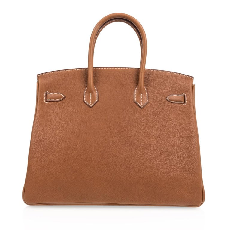 Hermes Birkin 35 Bag Very Rare Barenia Faubourg Palladium Ultimate Neutral  For Sale 4