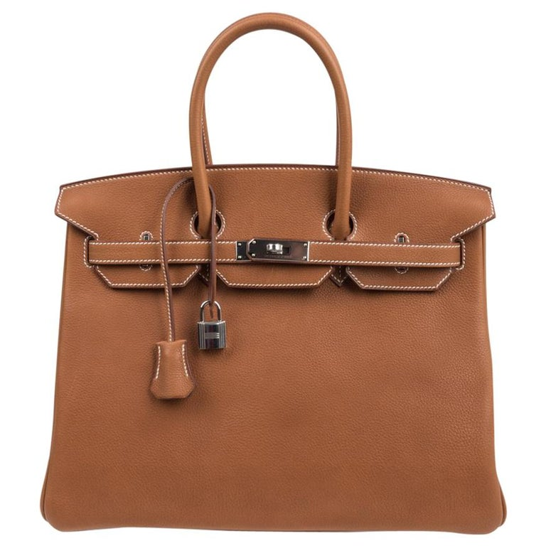Hermes Birkin 35 Bag Very Rare Barenia Faubourg Palladium Ultimate Neutral  For Sale