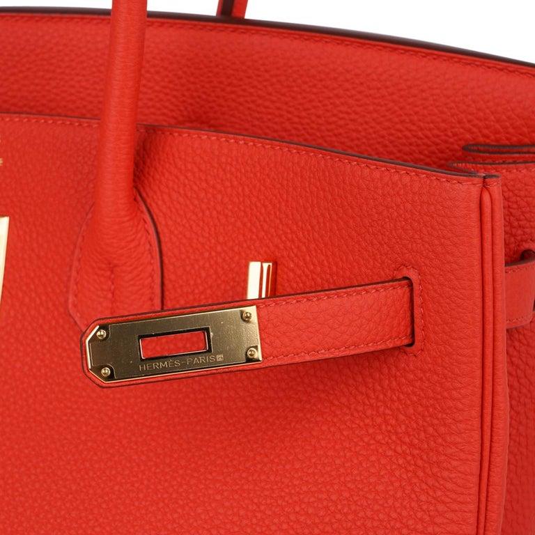 Red Hermes Birkin 35 Bag Vivid Capucine Togo Gold Hardware