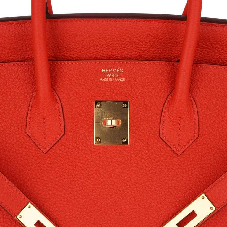 Hermes Birkin 35 Bag Vivid Capucine Togo Gold Hardware   In New Condition In Miami, FL
