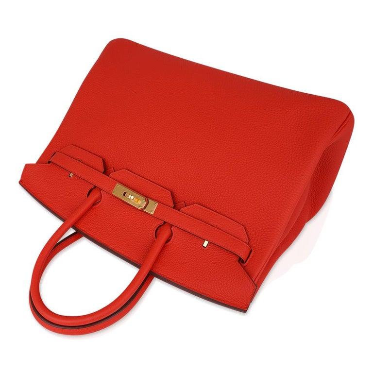 Hermes Birkin 35 Bag Vivid Capucine Togo Gold Hardware   1
