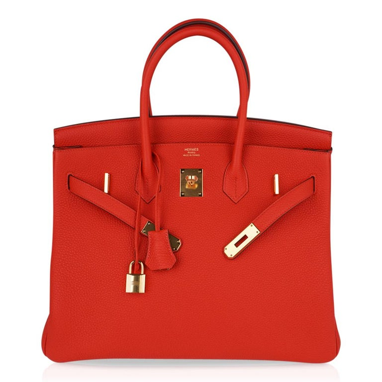 Hermes Birkin 35 Bag Vivid Capucine Togo Gold Hardware   3