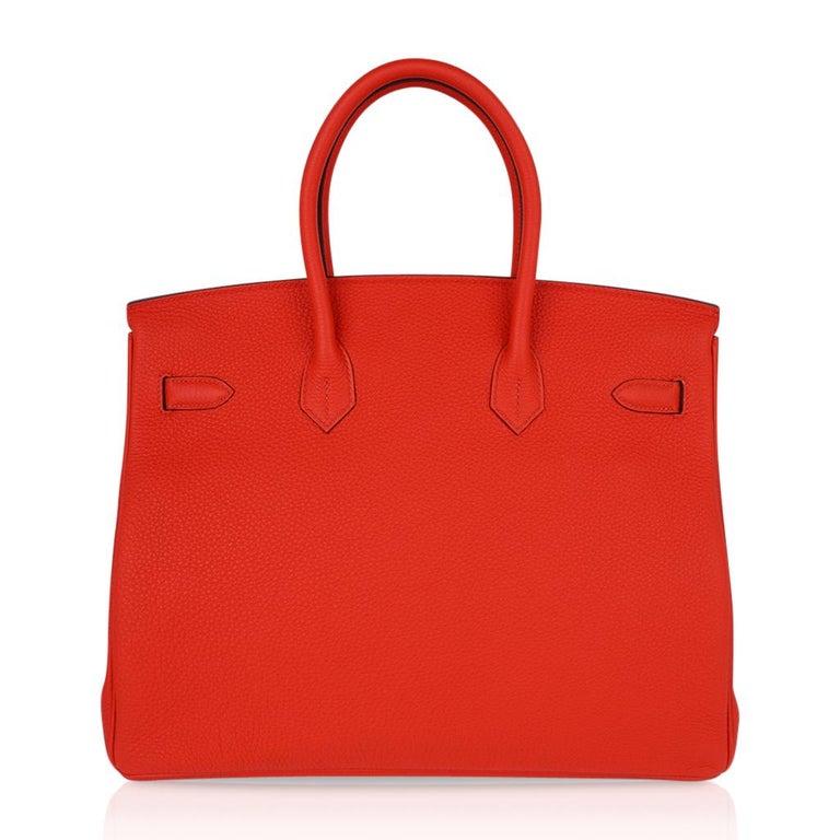 Hermes Birkin 35 Bag Vivid Capucine Togo Gold Hardware   4