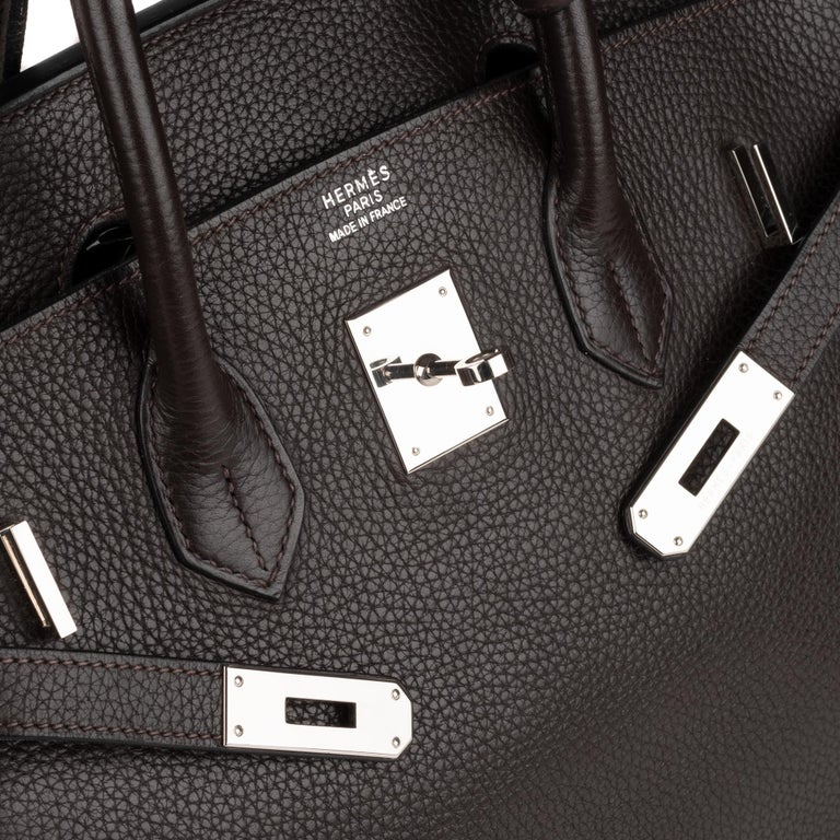 Black Hermes Birkin 35 Bicolor Ebony/Parma Togo Leather Handbag For Sale