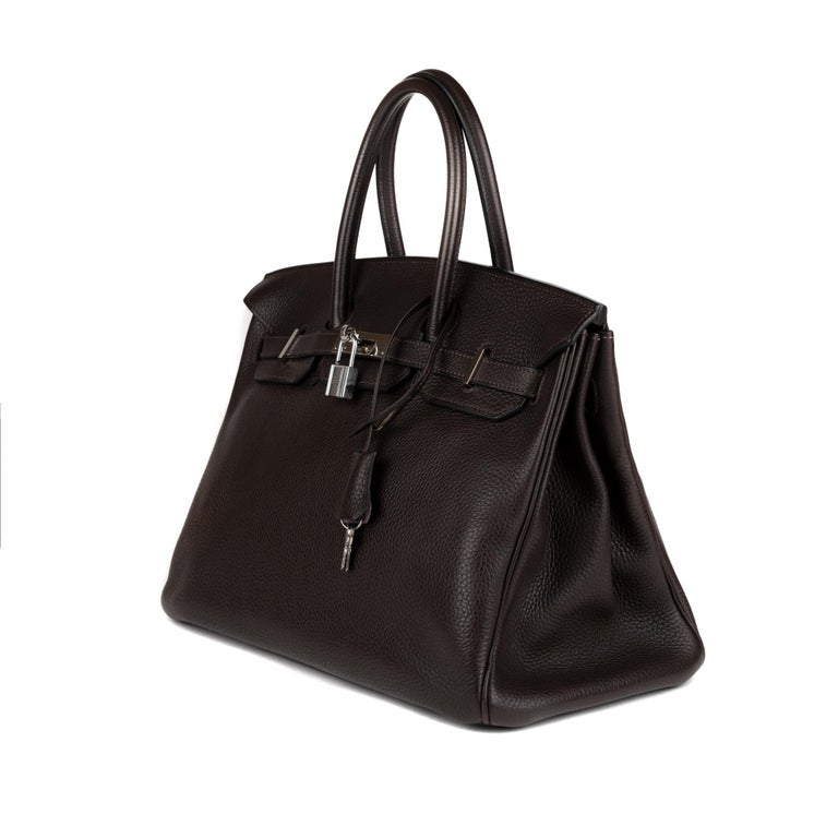 Hermes Birkin 35 Bicolor Ebony/Parma Togo Leather Handbag For Sale 1