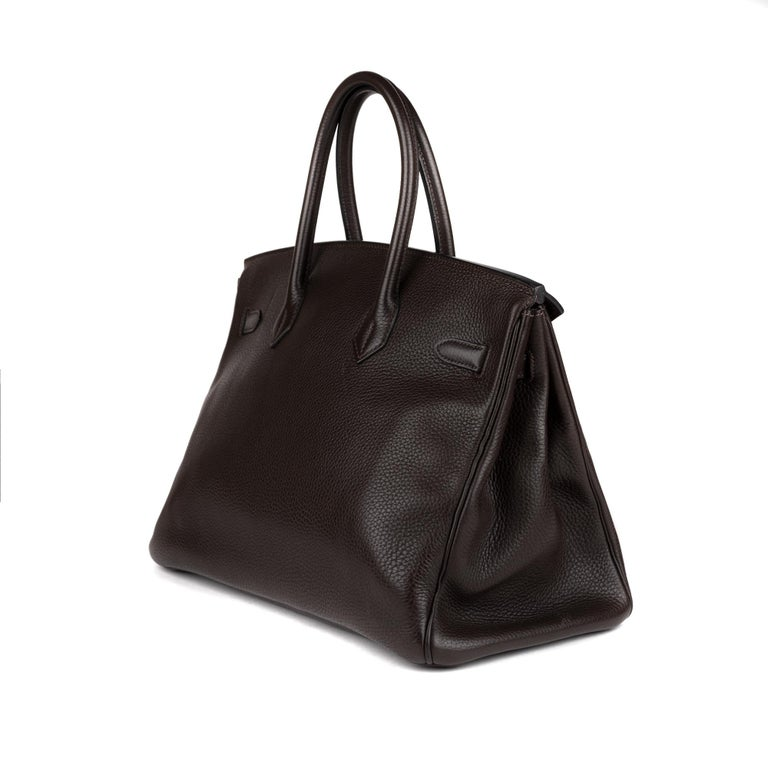 Hermes Birkin 35 Bicolor Ebony/Parma Togo Leather Handbag For Sale 2