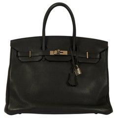 Hermes Birkin 35 Black Clemence Leather Bag