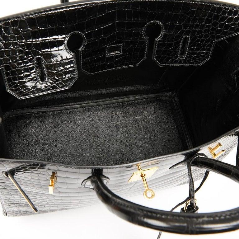 Hermes Birkin 35 Black Crocodile Bag And Golden Jewelry For Sale 8