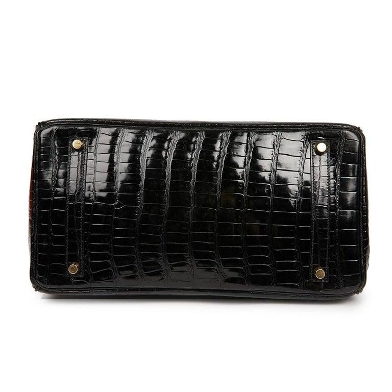 Hermes Birkin 35 Black Crocodile Bag And Golden Jewelry For Sale 1