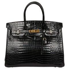 Hermes Birkin 35 Black Crocodile Bag And Golden Jewelry