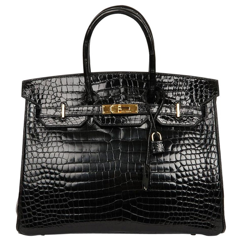 Hermes Birkin 35 Black Crocodile Bag And Golden Jewelry For Sale