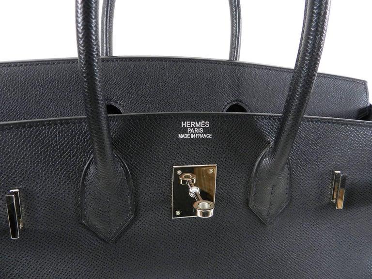 a6b52ba867 Hermes Black Epsom Leather Palladium Silver Hardware Birkin 35 Bag For Sale  7