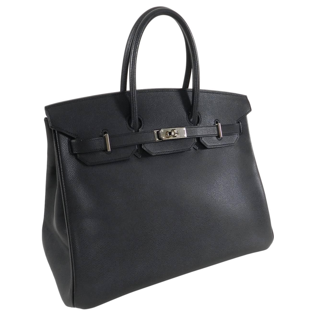 d2be66d3ae ... hot hermes birkin 35cm in black epsom leather and silvertone palladium  hardware. lined with chevre