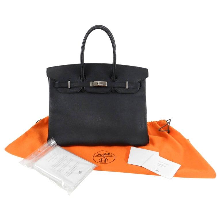 e1be39ca6e83 Hermes Black Epsom Leather Palladium Silver Hardware Birkin 35 Bag For Sale  2