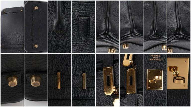 HERMES Birkin 35 Black Fjord Leather Gold Hardware Twist Lock Top Handle Handbag For Sale 6