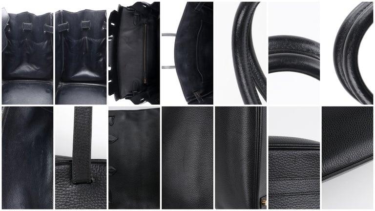 HERMES Birkin 35 Black Fjord Leather Gold Hardware Twist Lock Top Handle Handbag For Sale 7