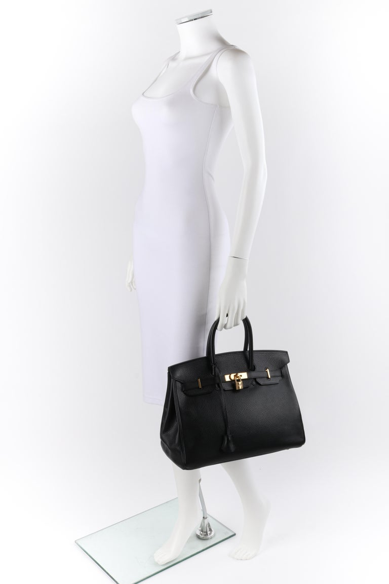 HERMES Birkin 35 Black Fjord Leather Gold Hardware Twist Lock Top Handle Handbag For Sale 8
