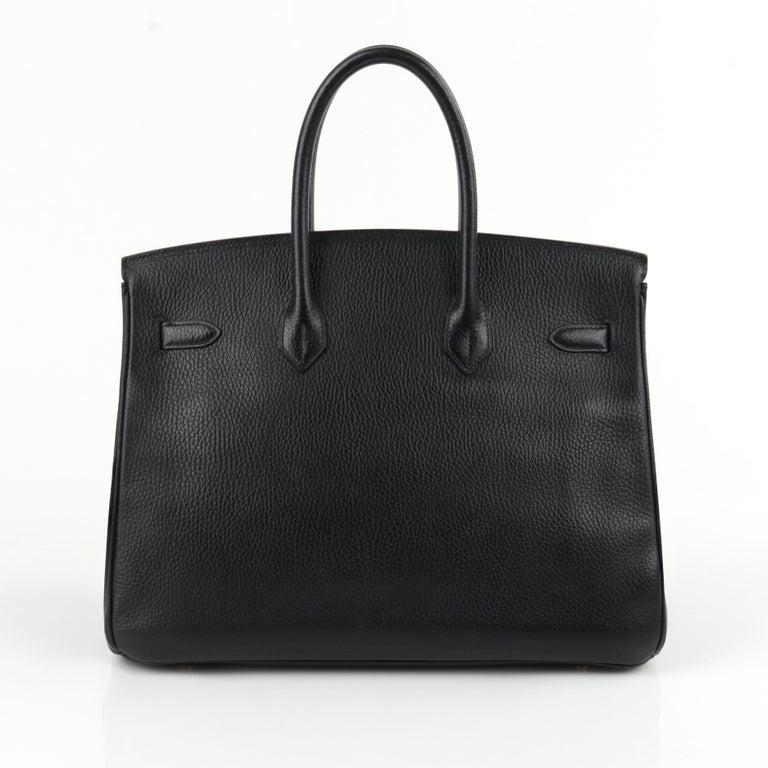 HERMES Birkin 35 Black Fjord Leather Gold Hardware Twist Lock Top Handle Handbag In Good Condition For Sale In Thiensville, WI