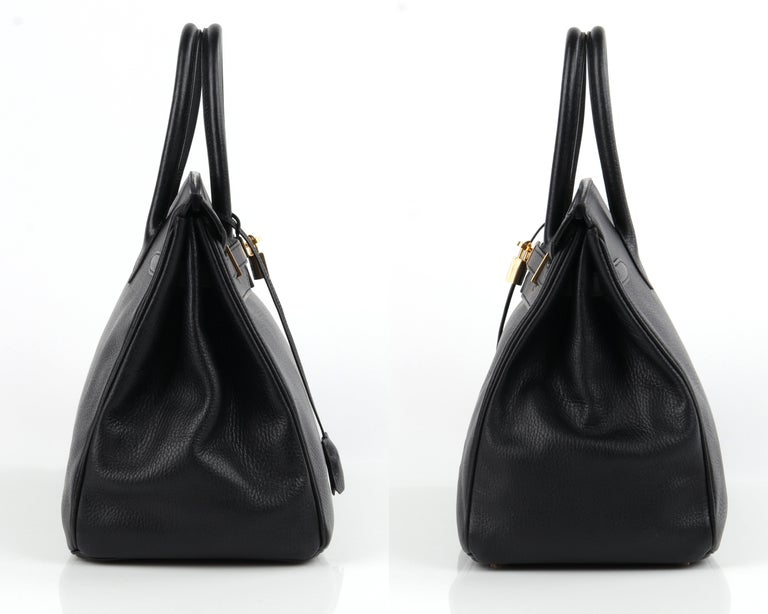 Women's HERMES Birkin 35 Black Fjord Leather Gold Hardware Twist Lock Top Handle Handbag For Sale