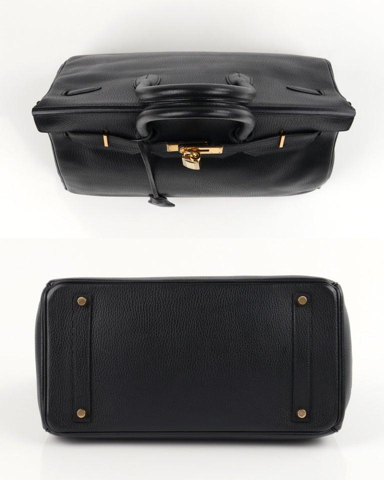 HERMES Birkin 35 Black Fjord Leather Gold Hardware Twist Lock Top Handle Handbag For Sale 2