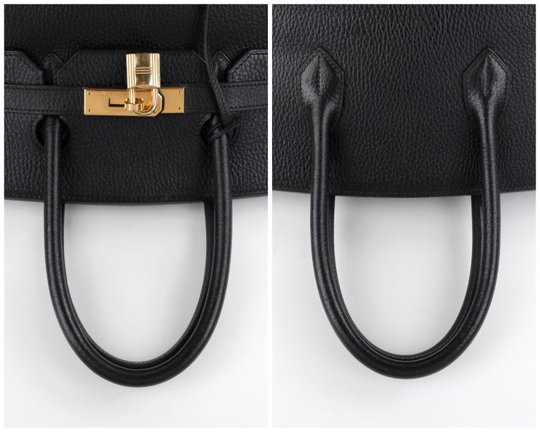 HERMES Birkin 35 Black Fjord Leather Gold Hardware Twist Lock Top Handle Handbag For Sale 3