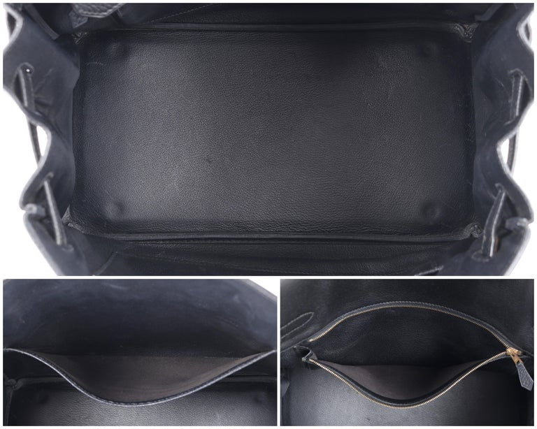 HERMES Birkin 35 Black Fjord Leather Gold Hardware Twist Lock Top Handle Handbag For Sale 4