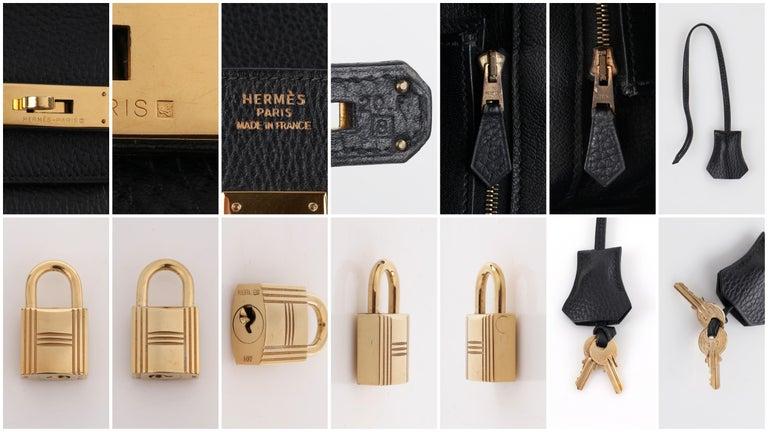 HERMES Birkin 35 Black Fjord Leather Gold Hardware Twist Lock Top Handle Handbag For Sale 5