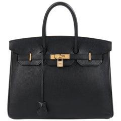 HERMES Birkin 35 Black Fjord Leather Gold Hardware Twist Lock Top Handle Handbag