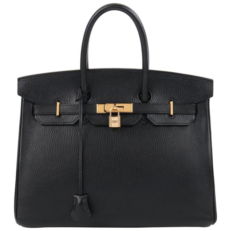 HERMES Birkin 35 Black Fjord Leather Gold Hardware Twist Lock Top Handle Handbag For Sale