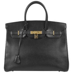 Hermes Birkin 35 Black Leather Gold Carryall Top Handle Satchel Tote