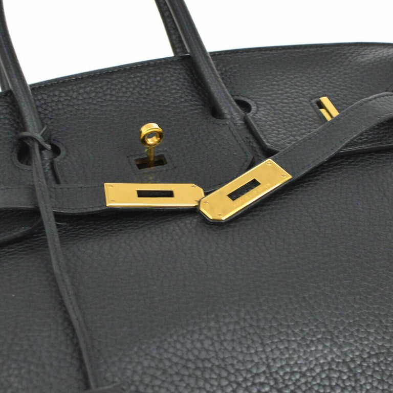 Hermes Birkin 35 Black Leather Gold Travel Carryall Top Handle Satchel Tote In Excellent Condition For Sale In Chicago, IL