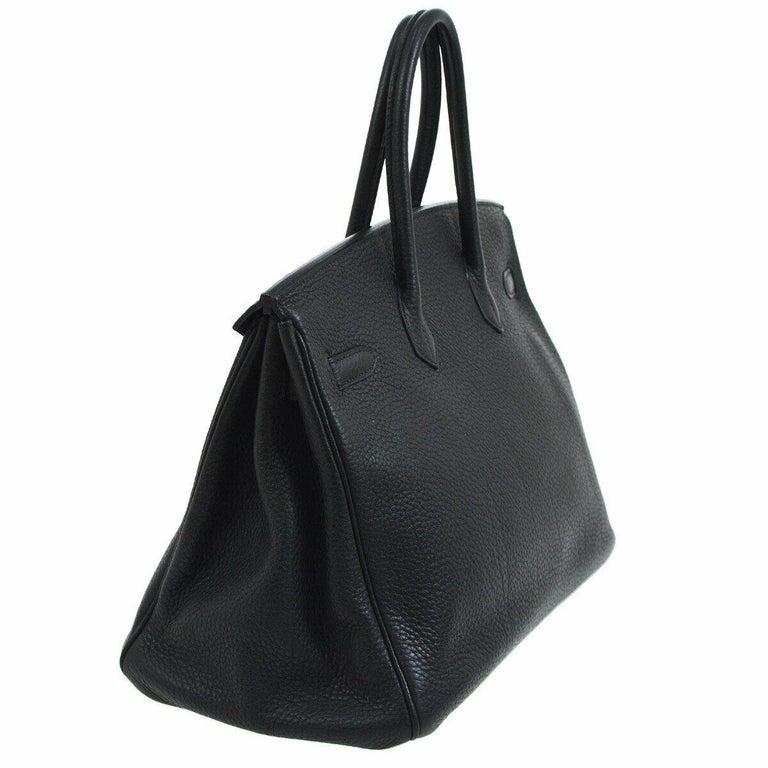 Women's Hermes Birkin 35 Black Leather Gold Travel Carryall Top Handle Satchel Tote For Sale