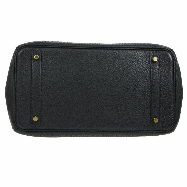 Hermes Birkin 35 Black Leather Gold Travel Carryall Top Handle Satchel Tote For Sale 1