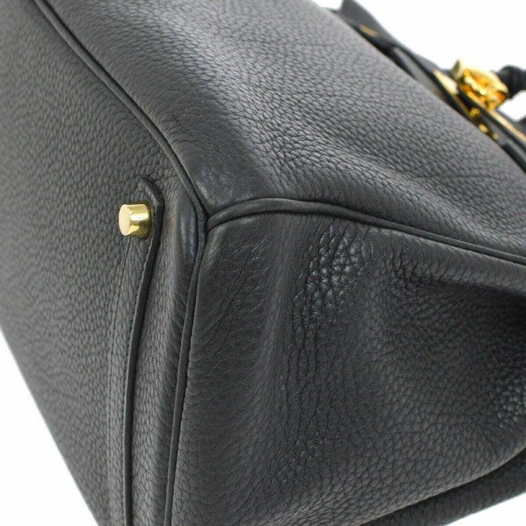 Hermes Birkin 35 Black Leather Gold Travel Carryall Top Handle Satchel Tote For Sale 2