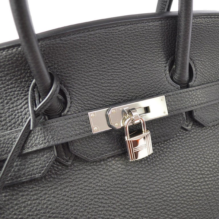 Hermes Birkin 35 Black Leather Palladium Top Handle Satchel Travel Tote Bag in Box  Leather Palladium tone hardware Leather lining Date code present Made in France Handle drop 4
