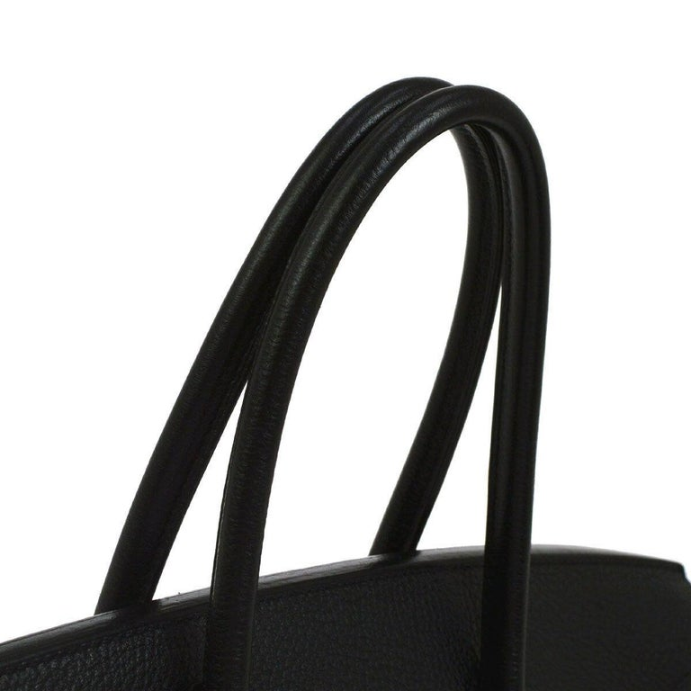 Hermes Birkin 35 Black Leather Silver Palladium Carryall Travel Top Handle Satchel Tote  Leather Palladium tone hardware Leather lining Date code present Made in France Handle drop 4.25