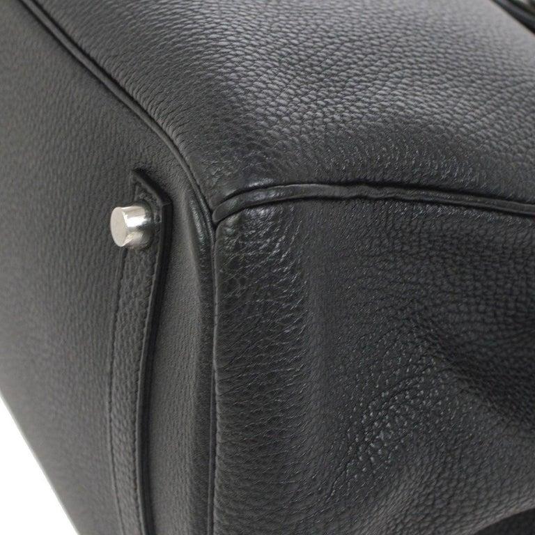 Hermes Birkin 35 Black Leather Palladium Travel Carryall Top Handle Satchel Tote For Sale 1