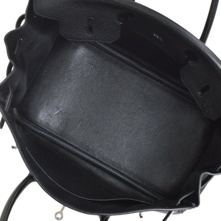 Hermes Birkin 35 Black Leather Palladium Travel Carryall Top Handle Satchel Tote For Sale 2