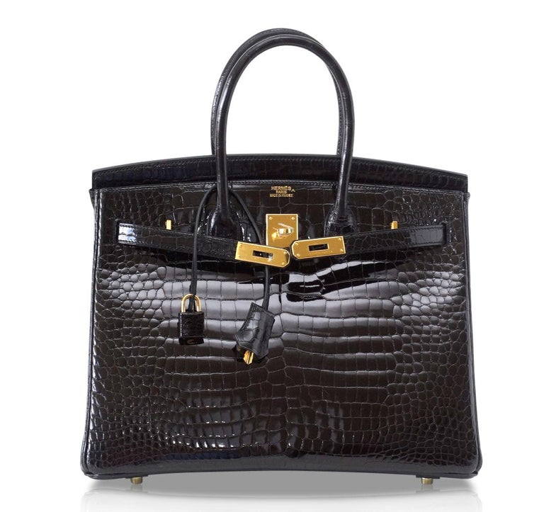 Hermes Birkin 35 Bag Black Porosus Crocodile Gold Hardware  For Sale 1