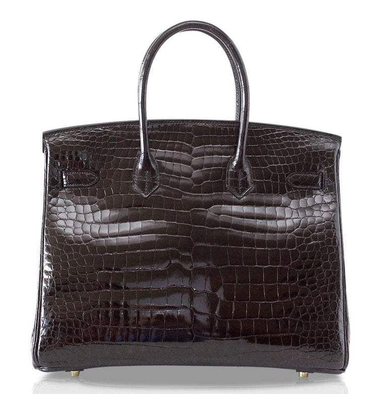 Hermes Birkin 35 Bag Black Porosus Crocodile Gold Hardware  For Sale 2