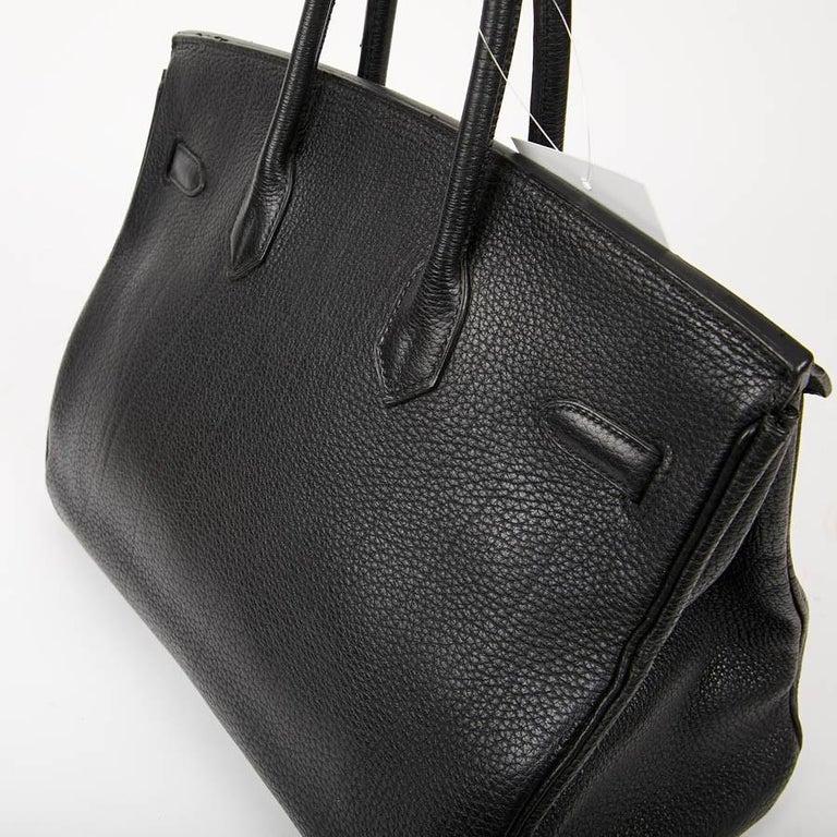 HERMES Birkin 35 Black Togo Leather Bag For Sale 6