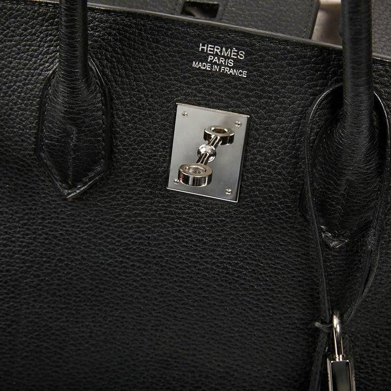 HERMES Birkin 35 Black Togo Leather Bag For Sale 9