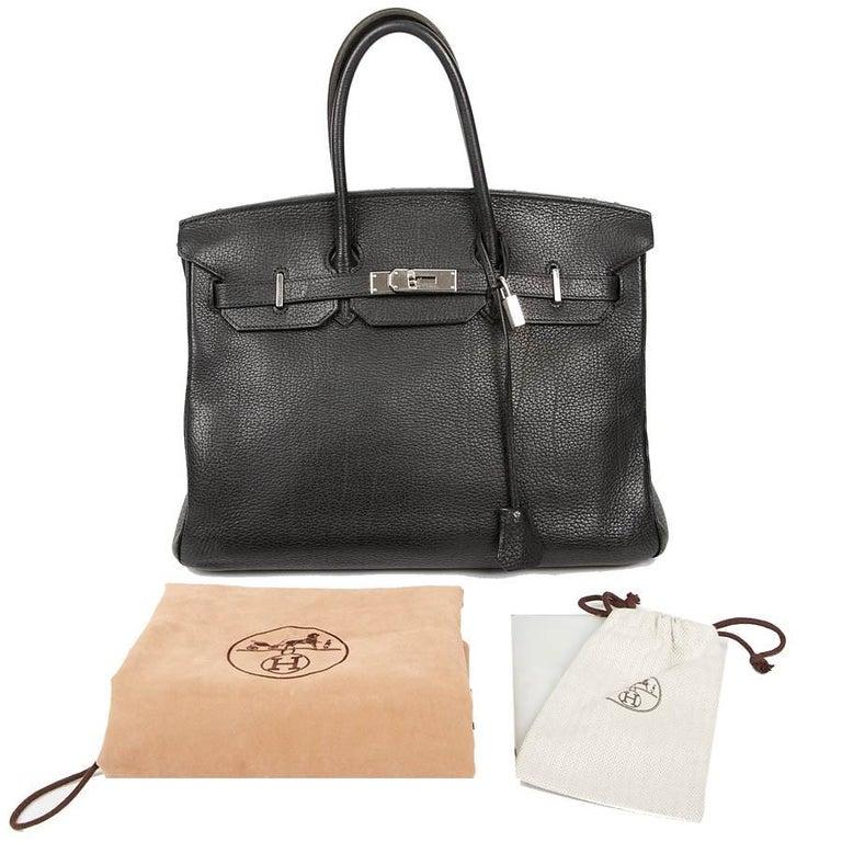 HERMES Birkin 35 Black Togo Leather Bag For Sale 12